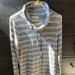 Soft, lightweight gray and white striped sweater!